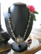 Antique India Necklace, Madhya Pradesh Earplug Earring Pendant