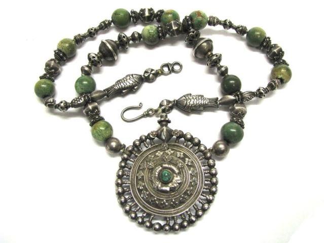 Antique India Necklace, Madhya Pradesh Earplug Earring Pendant, 65cm (25 1/2″)
