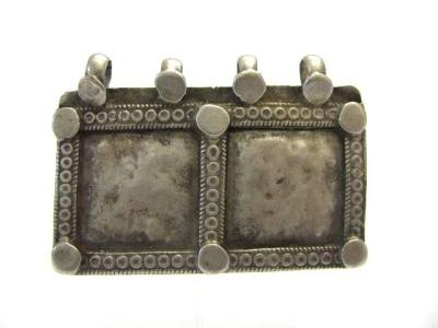 Antique Indian Amulet, Silver Rectangular House, Family Unity Symbol Pendant,