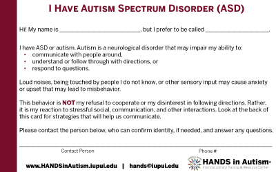 I Have Autism Spectrum Disorder card for first responders
