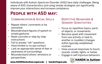 People with ASD may: Card