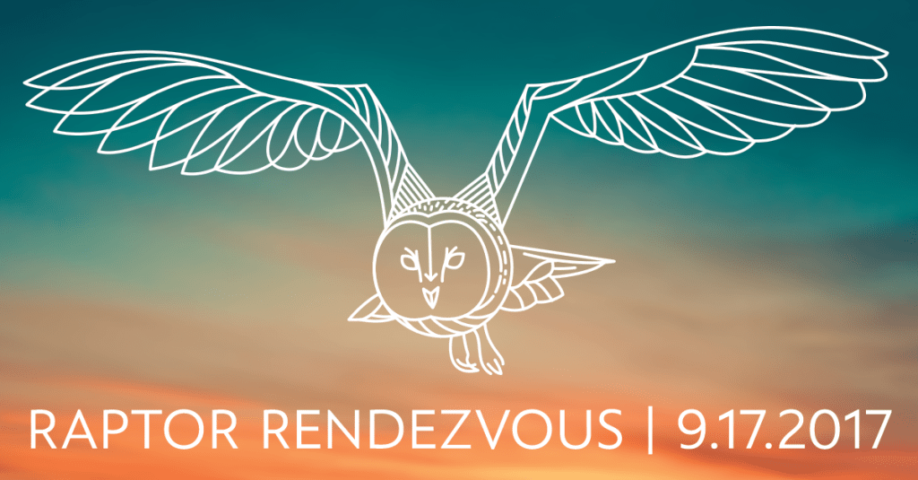 Promotional graphic for the Raptor Rendezvous event, featuring an abstract Barn Owl illustration