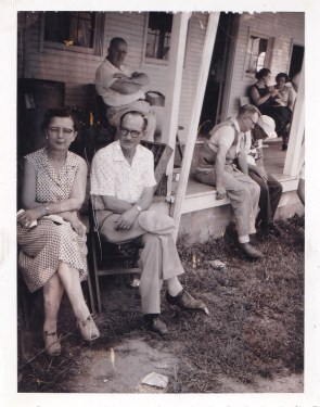 Front porch at Columbus Gun Club (Leone and Elzie McClintock)