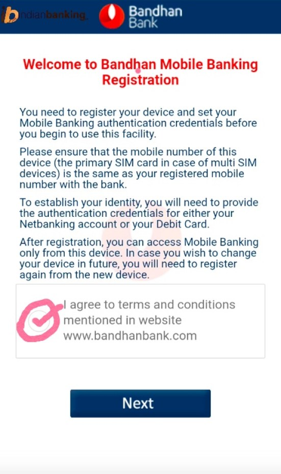 Bandhan Bank Mobile Banking Registration or mBandhan banking registration