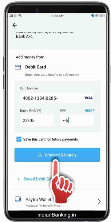 how to add money in paytm bank from debit card