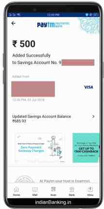 paytm payment bank add money