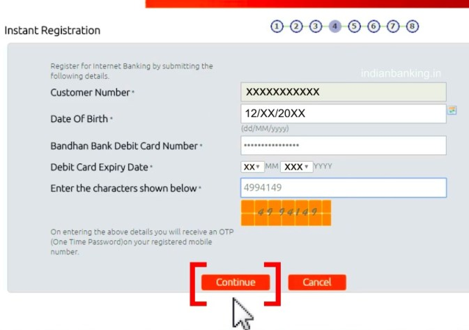Bandhan Bank internet banking registration