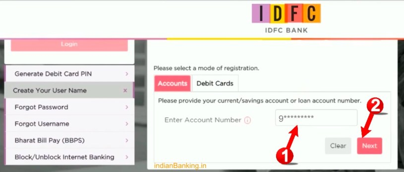 IDFC net banking registration