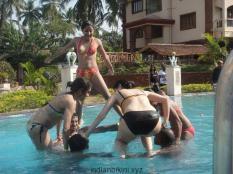 playing in bikini