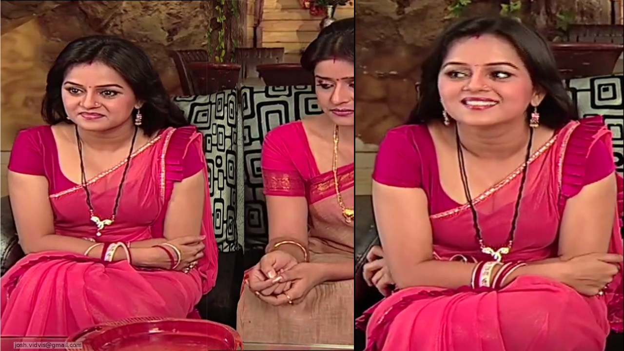 Jayshree Soni Hot Saree Cleavage Show Niyati Serial Caps -7405