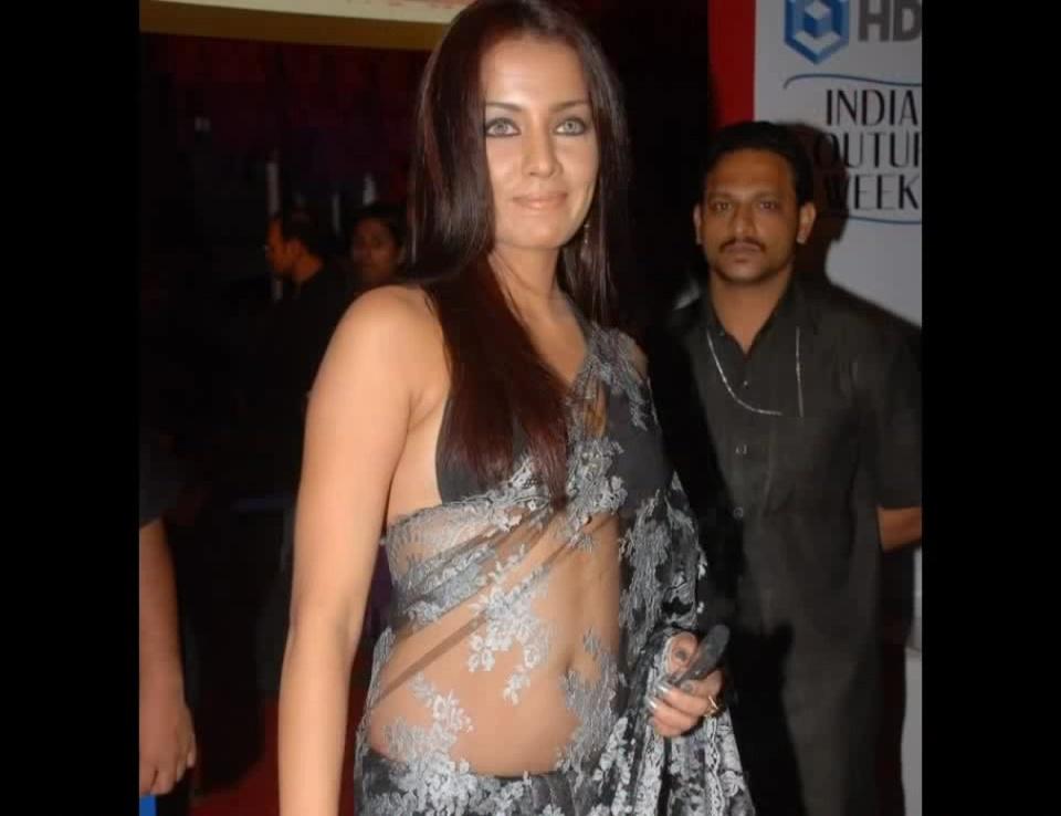 Celina Jaitly sexy transparent saree pics from bollywood events