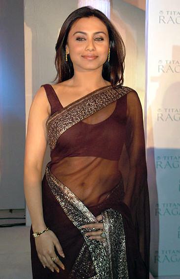 Rani Mukherjee sexy cleavage show in low waist see through sari