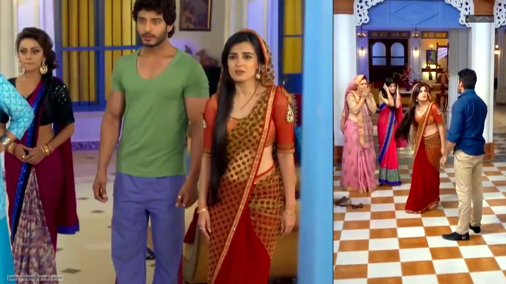 Hindi TV actress Shiny Doshi navel show from sarojini series