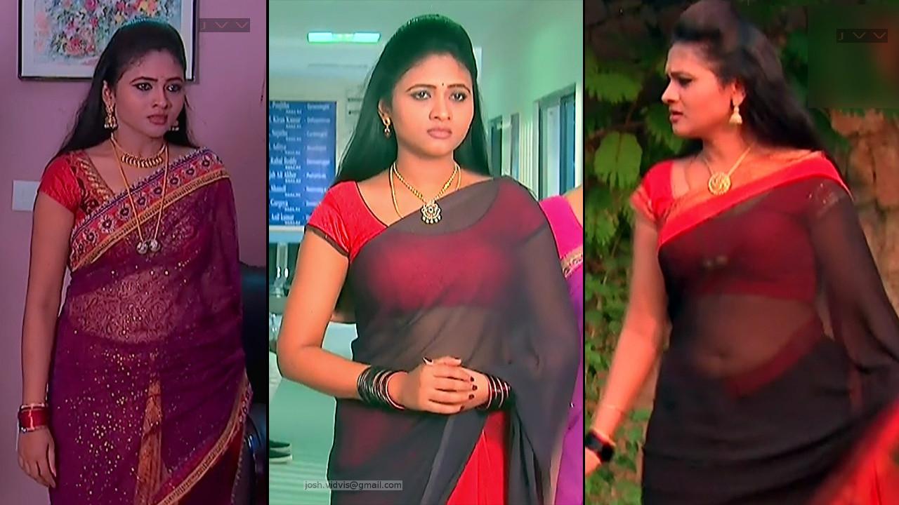 Telugu TV serial actress Hot Transparent Saree Pics