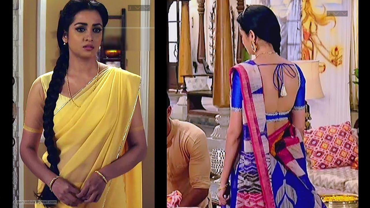 Madhura Naik hot TV caps in backless blouse saree