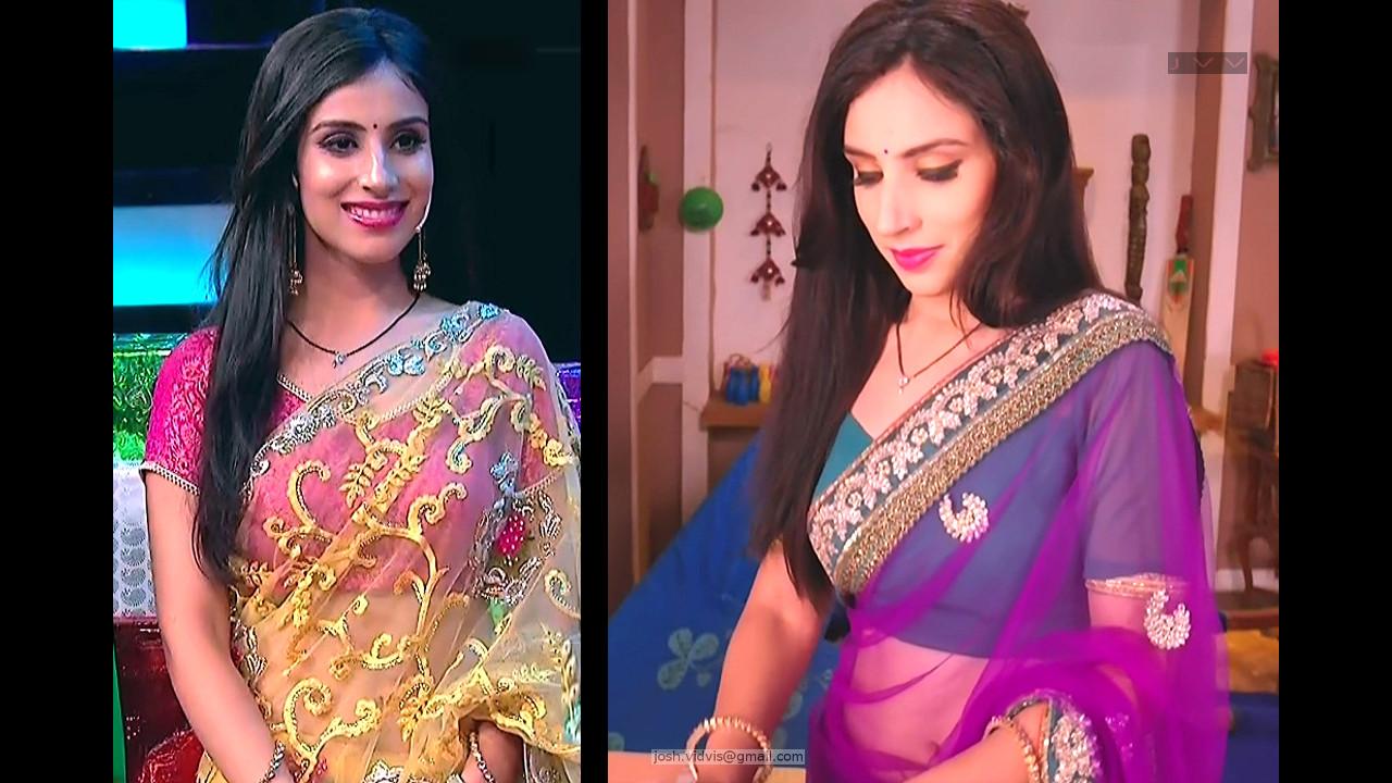 Simran Kaur tv actress navel show in transparent sari