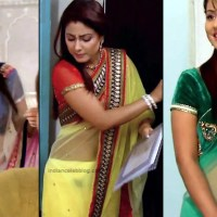 Hina Khan Hindi TV serial actress hot Transparent Saree photo Compilation
