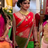 Neha Dangal navel show in transparent saree tv caps