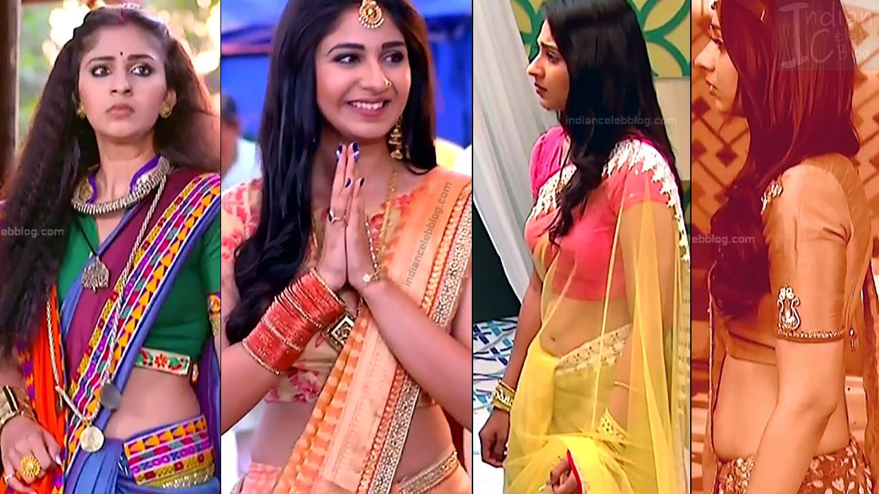 Vidhi Pandya navel show in saree, hd tv caps from Udaan serial
