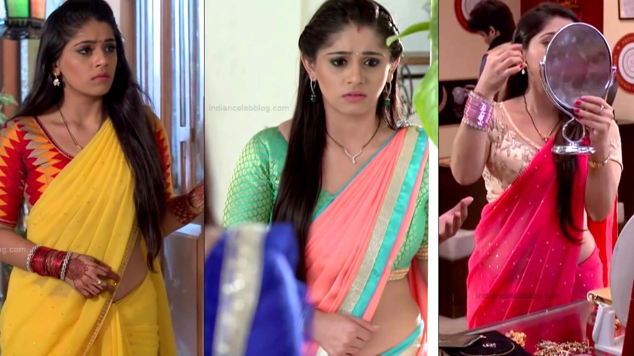 Chandni Bhagwanani bare midriff show in saree HD caps