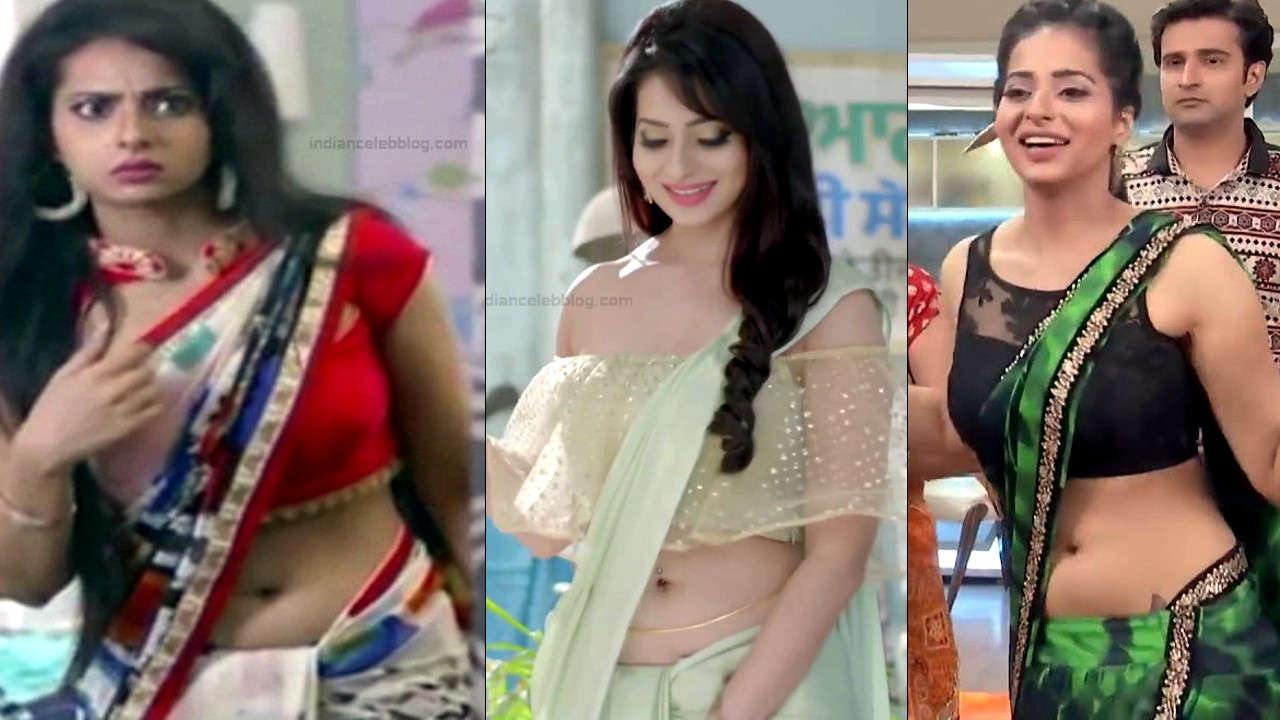 Monica Castelino bare navel midriff in low waist sari hd caps