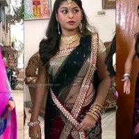 Nagashree hot low waist saree navel show tamil tv caps