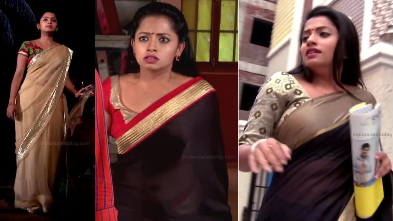 Navya Swamy telugu serial hot sari navel show hd caps
