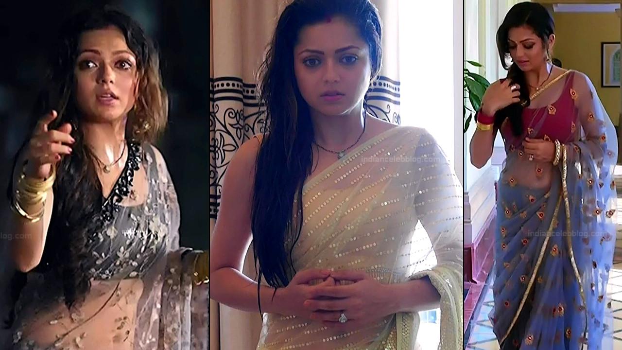 Drashti Dhami sexy sleeveless blouse saree hd tv caps