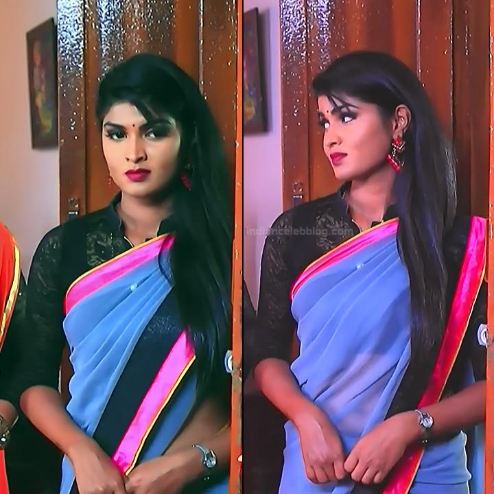Kannada TV serial actress Bili HS1 2 hot saree caps