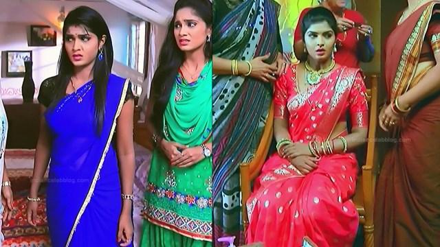Kannada TV serial actress Bili HS1 5 hot saree caps