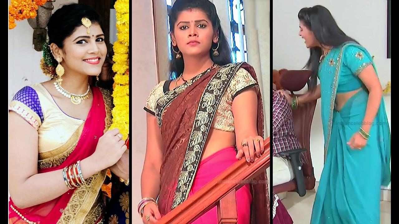 Sangeetha Kamath spicy saree navel show telugu tv caps