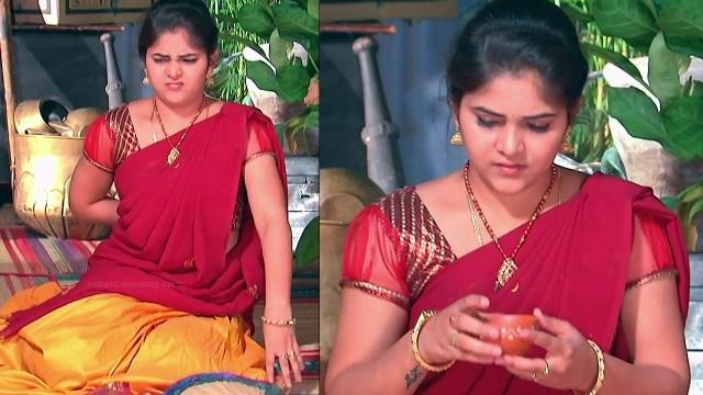 Telugu TV Actress Agnisakshi UnKS1 1 hot saree caps