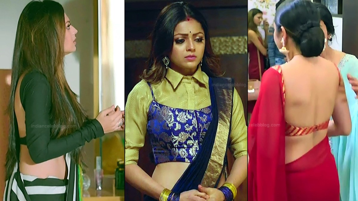 Drashti Dhami Sexy Backless Blouse Saree Hd Hindi Tv Caps -7108