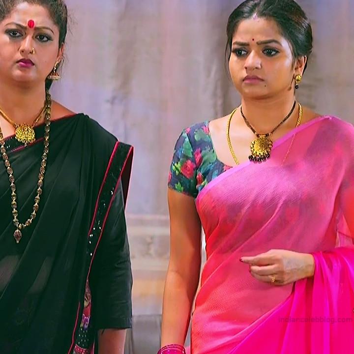 Nithya ram Tamil tv actress Nandhini S1 6 hot saree caps