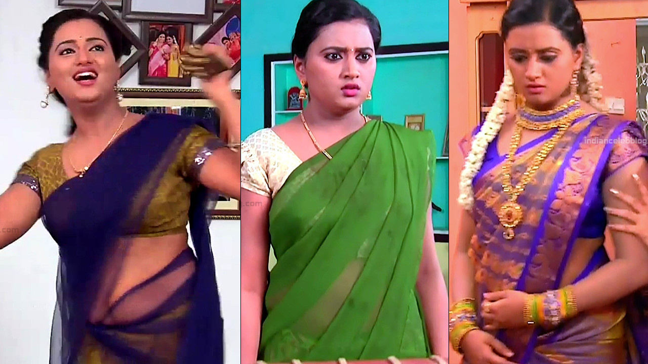 Princy B Krishnan sexy navel show in saree hd tv caps
