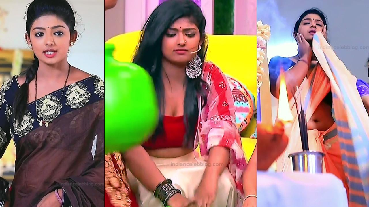Bhoomi Shetty sexy navel cleavage show, Kannada tv caps