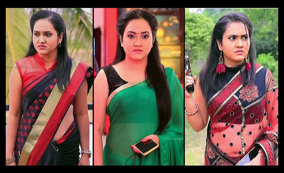 Sindhu kalyan sleeveless saree navel show kannada tv caps