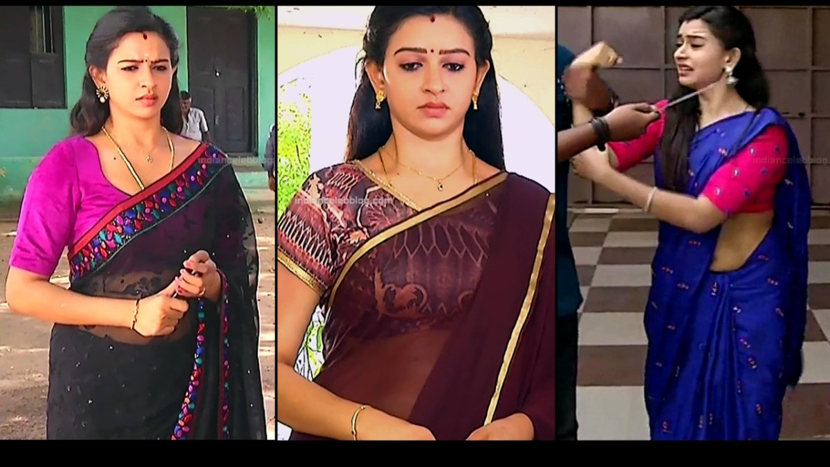 Divya Ganesh Tamil TV Actress Hot Photos And Caps In Saree