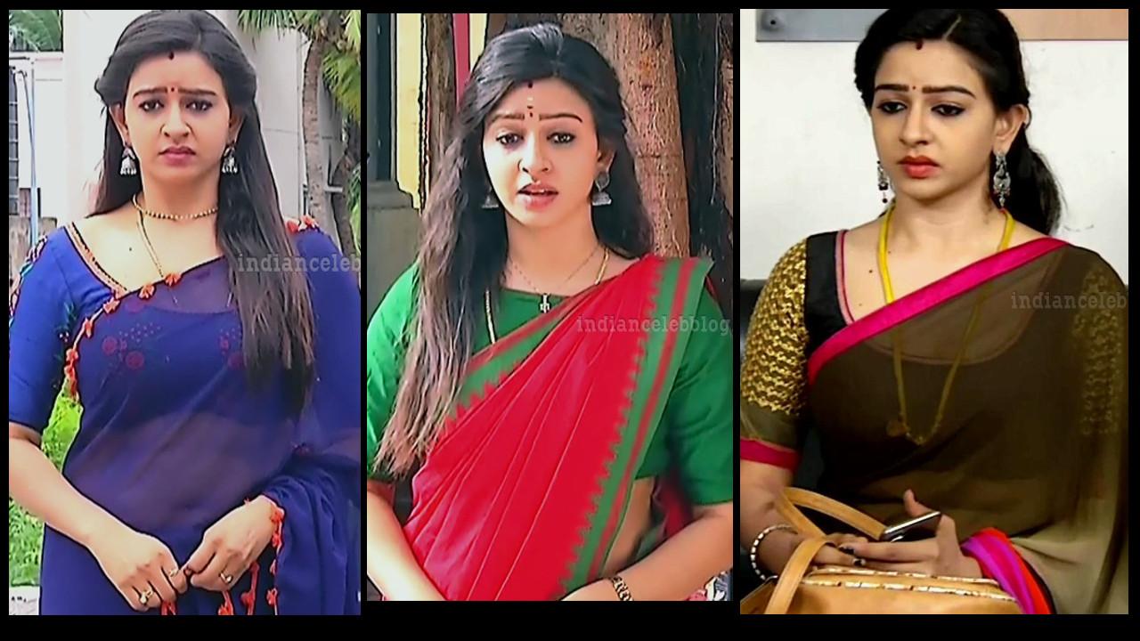 Divya Ganesh transparent sari navel show Sumangali tv caps