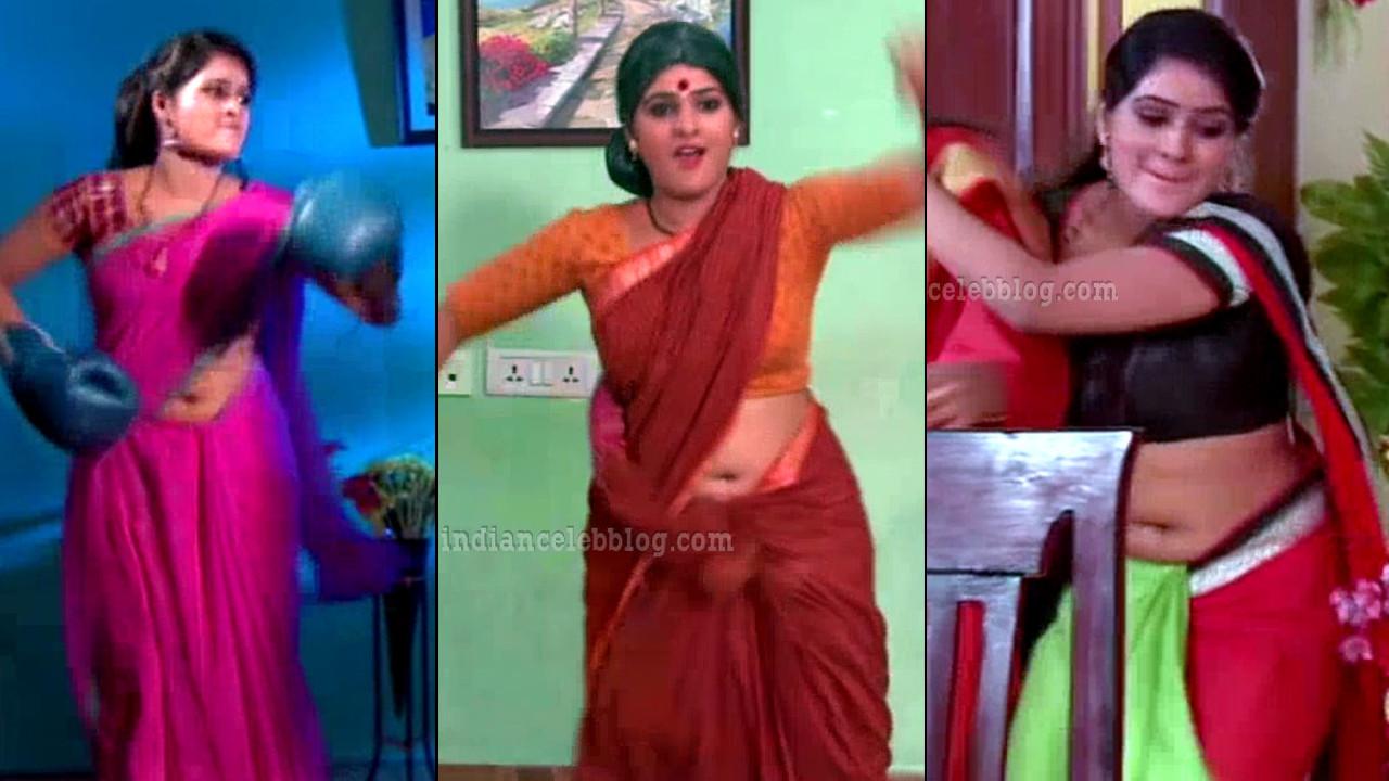 Monisha hot saree navel show Nandini vs nandini telugu serial caps