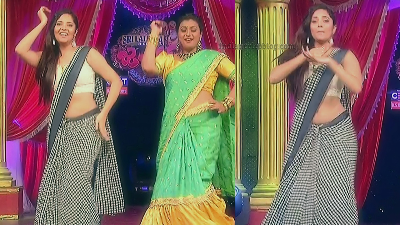 Anasuya teleugu TV anchor Reality show 7 hot sari dance