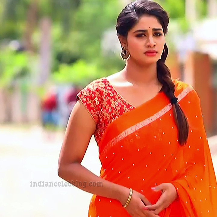 Shivani pagal nilavu S1 10 tamil tv serial actress sari photo