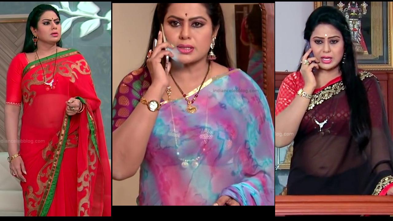 Tina Naidu hot transparent saree navel show, telugu tv caps