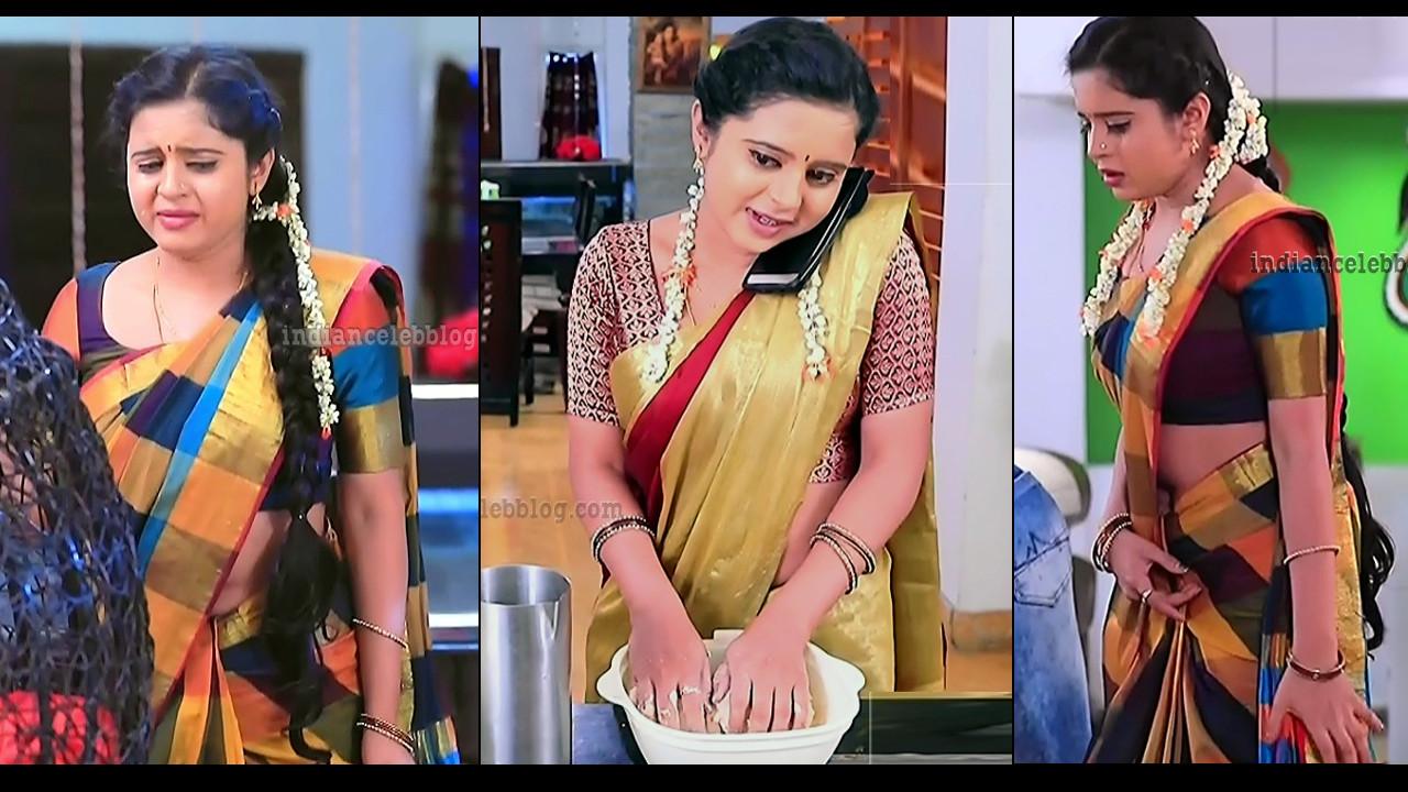 Kavyashree Gowda Kannada serial sari navel show TV caps