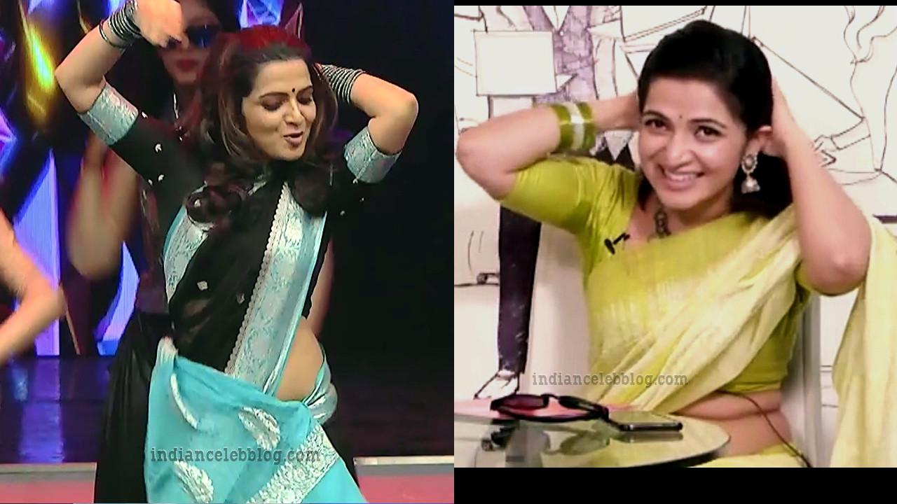 Divyadarshini Tamil TV anchor hot Saree Caps