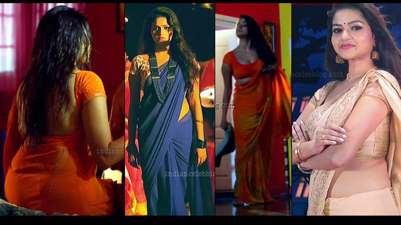 Nithya Ram sexy Saree caps from Nandini tamil serial