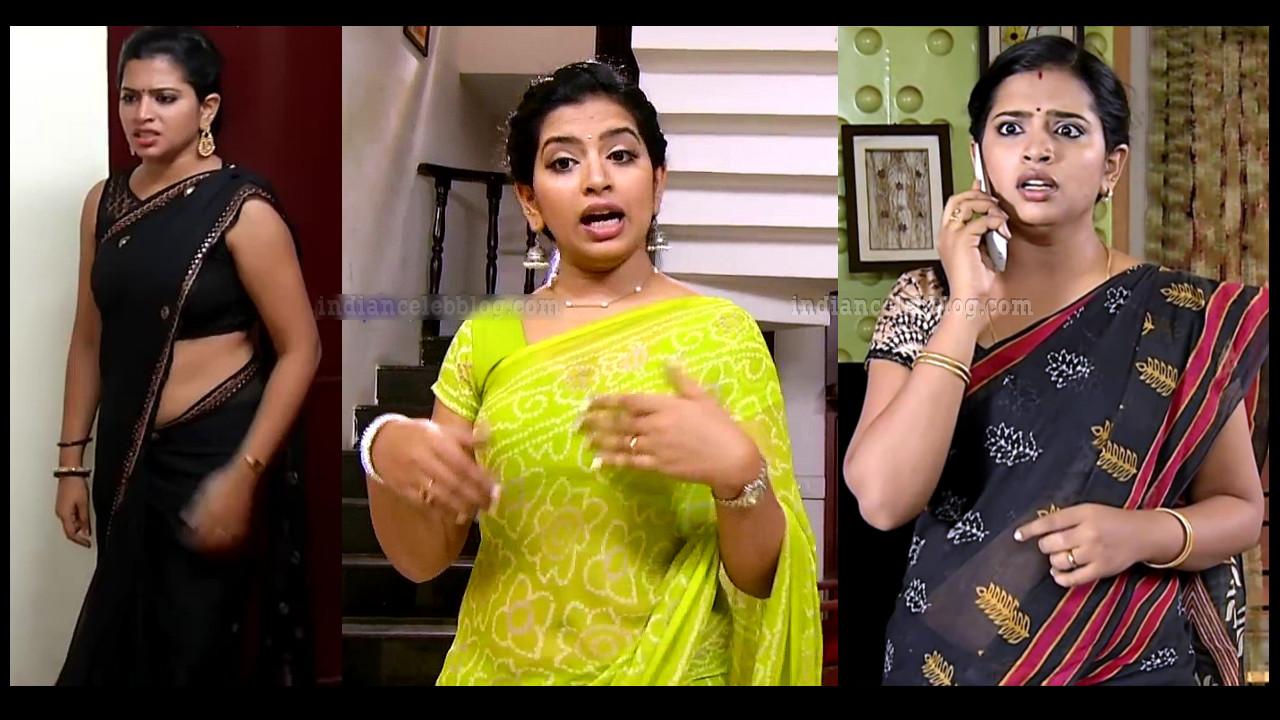 Akhila tamil tv serial actress hot Saree HD caps