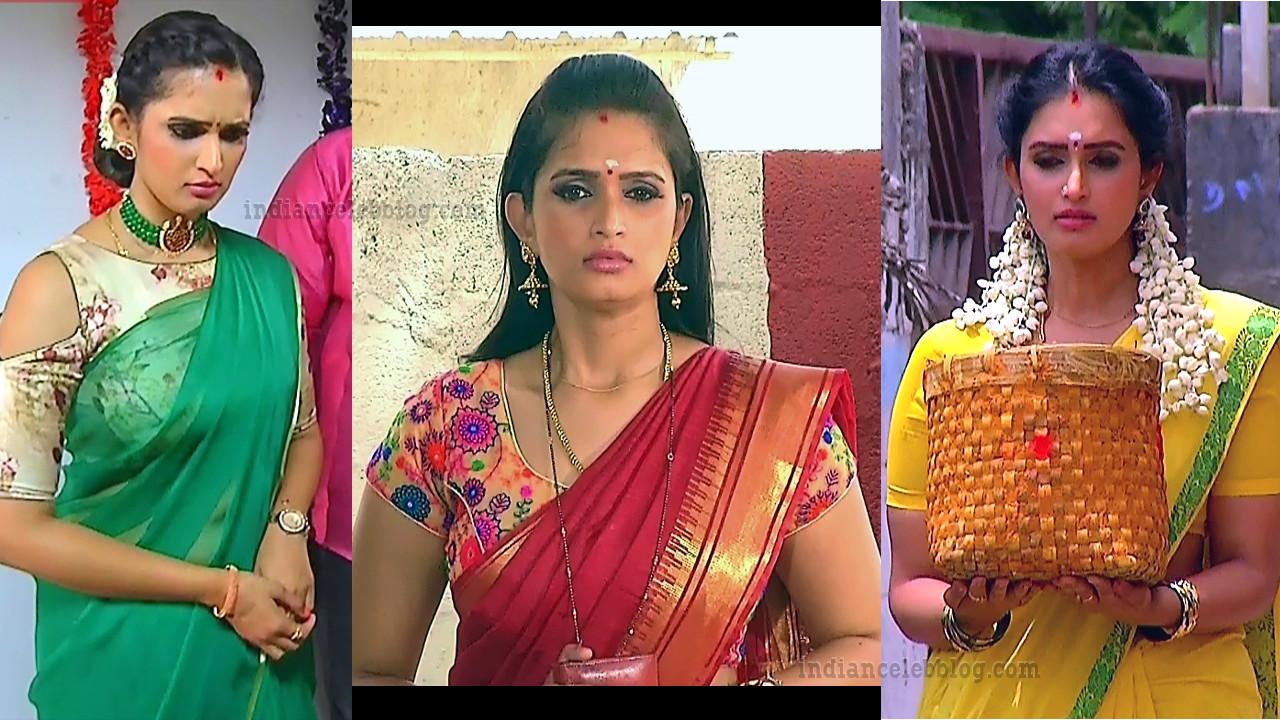 Kavya shastry saree caps from tamil serial mahalakshmi
