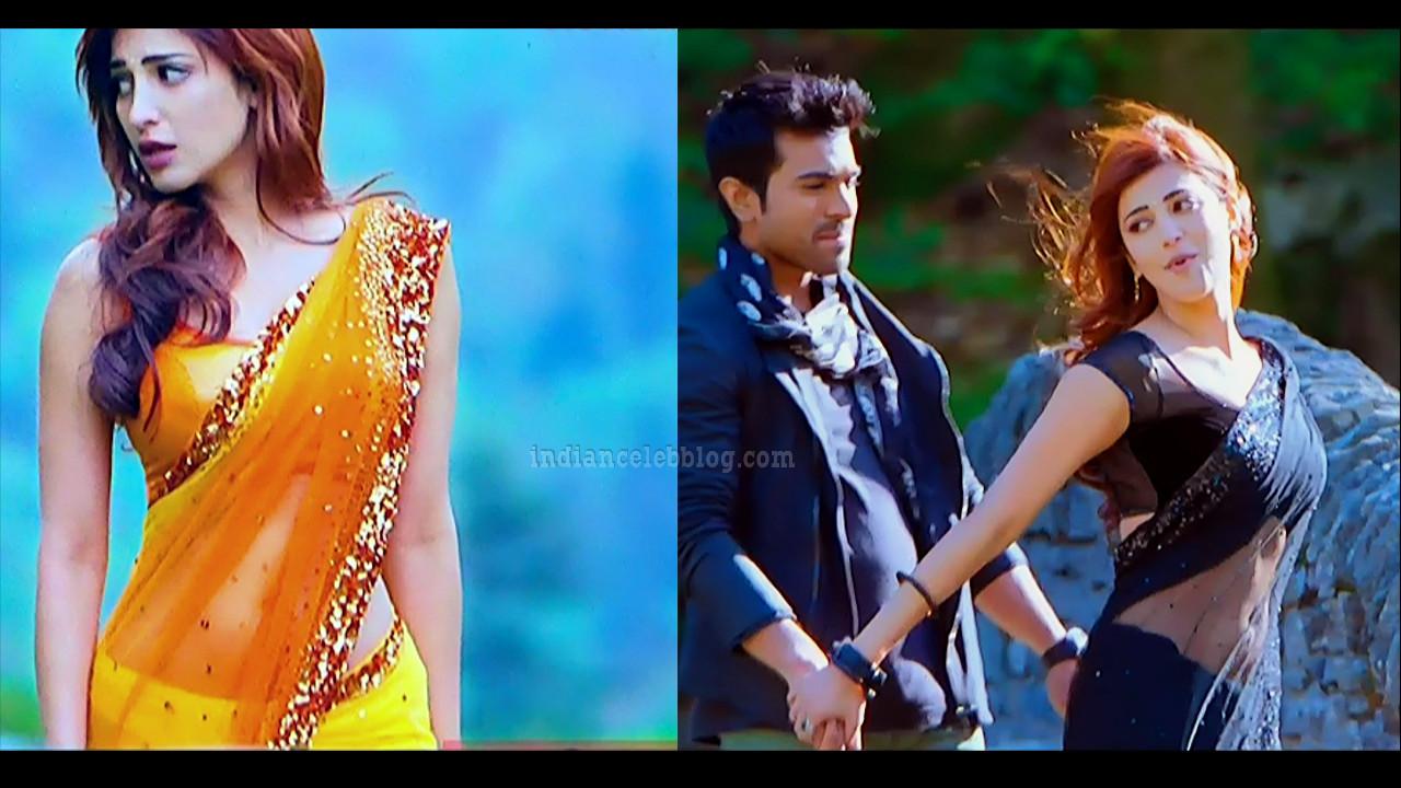 Shruti haasan sexy saree navel song Yevada telugu movie