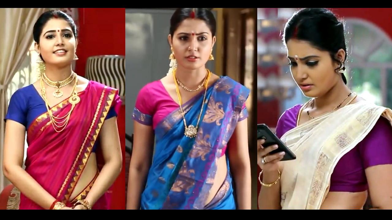 Sandra Amy Tamil TV serial actress Saree Caps